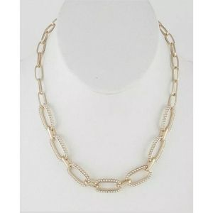 GOLD LOOK FAUX PEARL TRIM CHAIN LINK NECKLACE